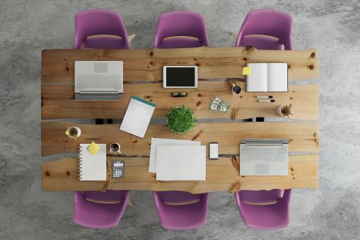 Teamwork「Knolling top view of a team office table」:スマホ壁紙(4)