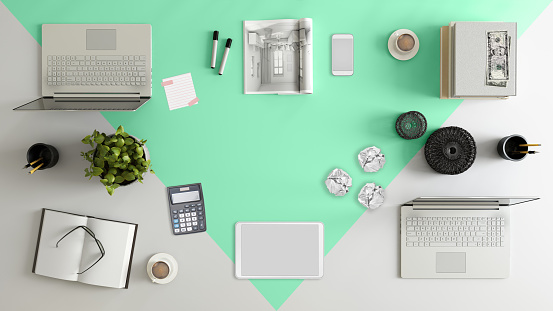 Template「Knolling top view of a team office table」:スマホ壁紙(15)