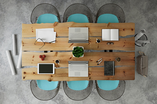 Teamwork「Knolling top view of a team office table」:スマホ壁紙(6)