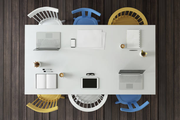 Knolling top view of a team office table:スマホ壁紙(壁紙.com)