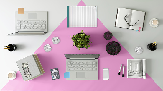Template「Knolling top view of a team office table」:スマホ壁紙(3)