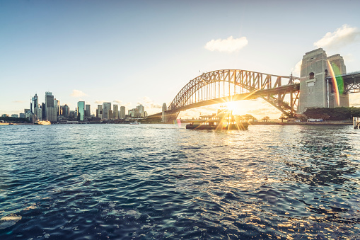 Sydney Harbor Bridge「Sydney city skyline against sunset sky」:スマホ壁紙(11)