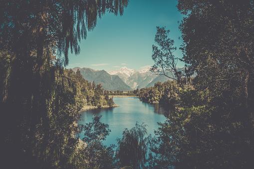 探求「Lake Matheson Landscape Panorama, New Zealand, South Island」:スマホ壁紙(7)