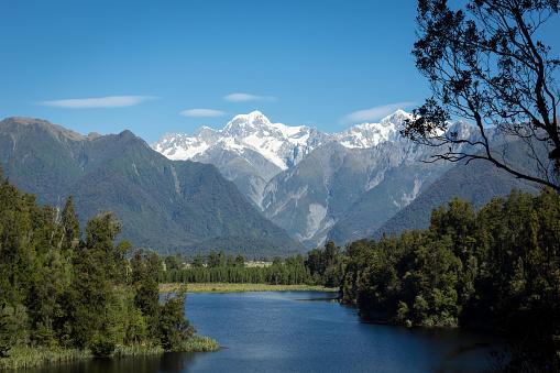 Franz Josef Glacier「Lake Matheson Landscape Panorama, New Zealand, South Island」:スマホ壁紙(3)