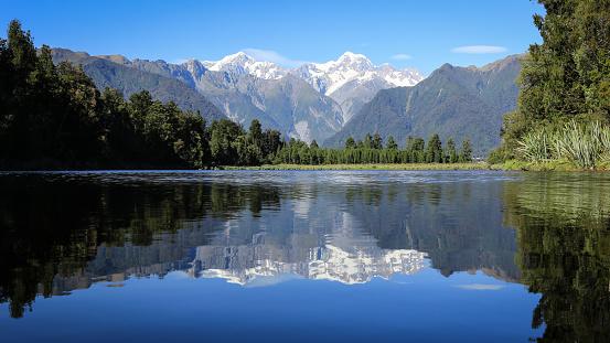 Franz Josef Glacier「Lake Matheson Reflection Landscape Panorama, New Zealand, South Island」:スマホ壁紙(5)