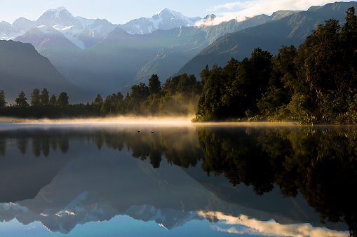 Westland National Park「Lake Matheson Dawn」:スマホ壁紙(12)