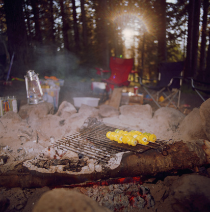 Camping Chair「Yellow patty pan squash on skewers over campsite grill, dusk」:スマホ壁紙(7)