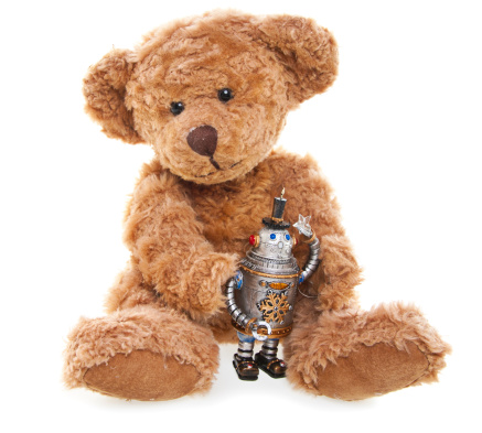 Full Length「CuteTeddy Bear with Toy Robot, Sitting, Isolated on White」:スマホ壁紙(15)