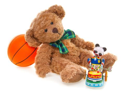 Doll「CuteTeddy Bear, Wind-up Tin Toy and Ball」:スマホ壁紙(7)