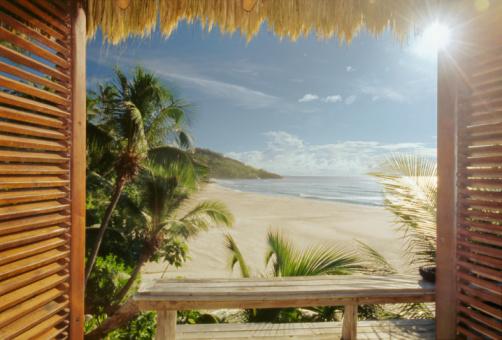 Sea「Opened wooden window on wild tropical beach」:スマホ壁紙(18)