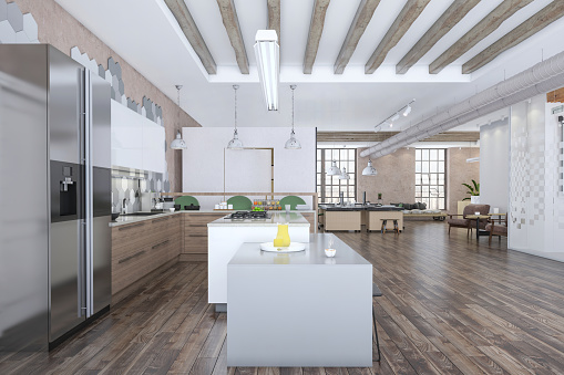 Wide Angle「Modern open plan office interior kitchen」:スマホ壁紙(12)