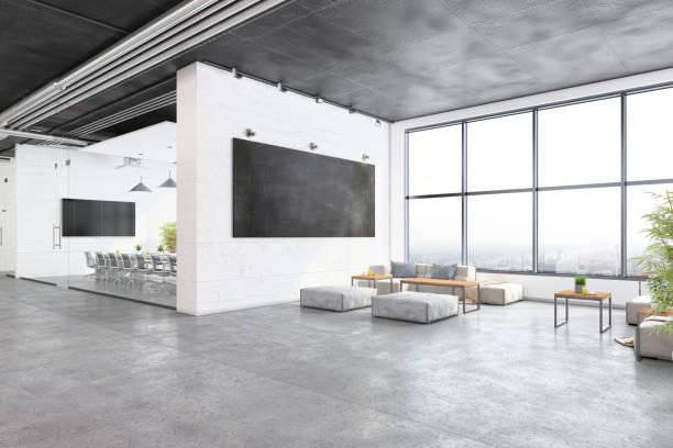 Modern open plan office interior with waiting room:スマホ壁紙(壁紙.com)