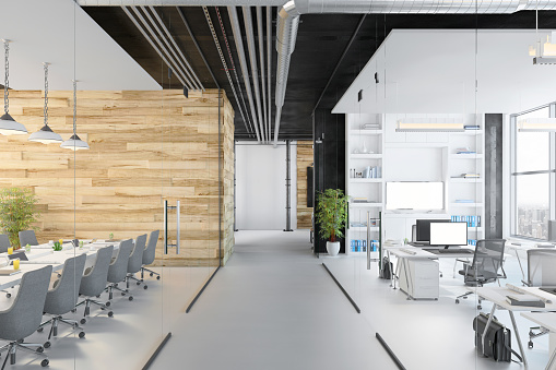 Corporate Business「Modern open plan office interior」:スマホ壁紙(6)