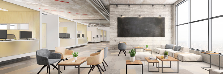 Template「Modern open plan office interior」:スマホ壁紙(12)