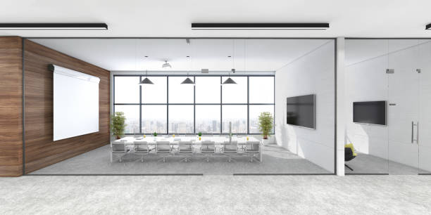 Modern open plan office interior:スマホ壁紙(壁紙.com)