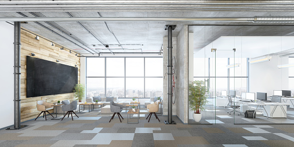 Indoors「Modern open plan office interior」:スマホ壁紙(4)
