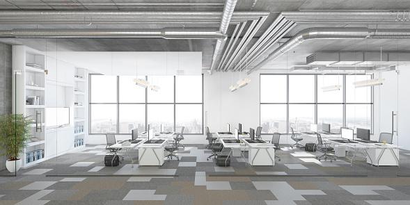 Computer Graphic「Modern open plan office interior」:スマホ壁紙(10)