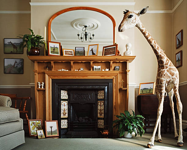 Stuffed giraffe in a living room:スマホ壁紙(壁紙.com)