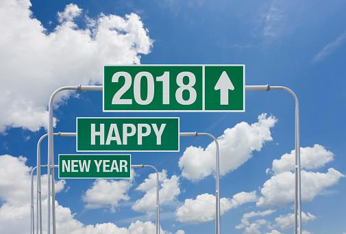 大晦日「2018 年と新年あけましておめでとうございますの出口を出ると緑の高速道路サイン」:スマホ壁紙(3)