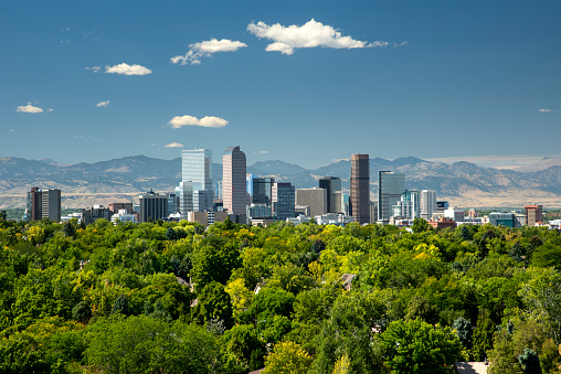 Downtown District「Skyline, Neighborhoods, Front Range, Rocky Mountains, Denver, Colorado」:スマホ壁紙(0)