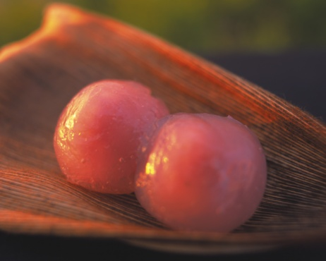 Wagashi「Sweet rice dumplings on bamboo leaf, Close Up, Differential Focus」:スマホ壁紙(10)