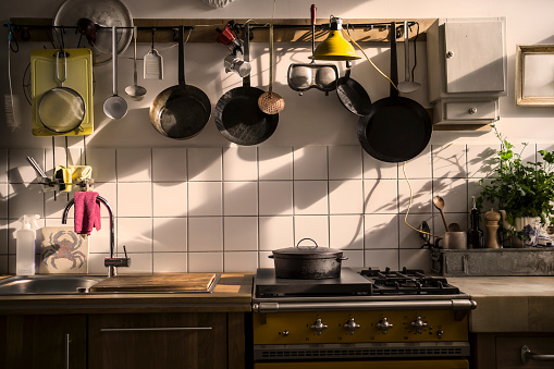 Kitchen Utensil「Kitchen unit in a domestic kitchen at evening light」:スマホ壁紙(8)