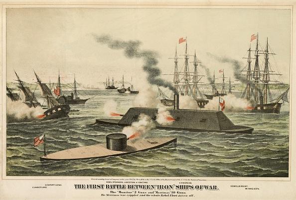 Lithograph「The First Battle Between 'Iron' Ships Of War」:写真・画像(6)[壁紙.com]