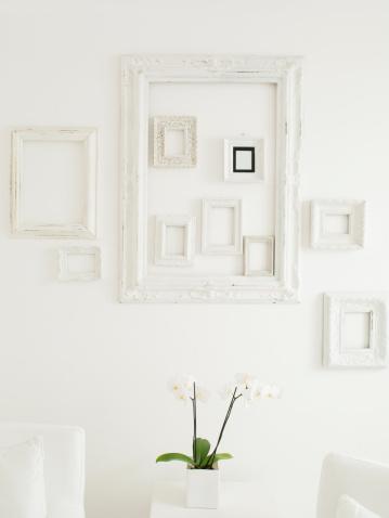 花「フレーム、優雅な白い壁に」:スマホ壁紙(13)