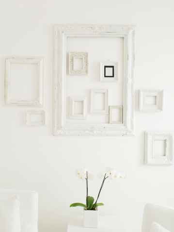 flower「フレーム、優雅な白い壁に」:スマホ壁紙(5)