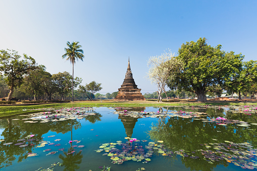 Thailand「Sukhothai temple lake panorama」:スマホ壁紙(13)