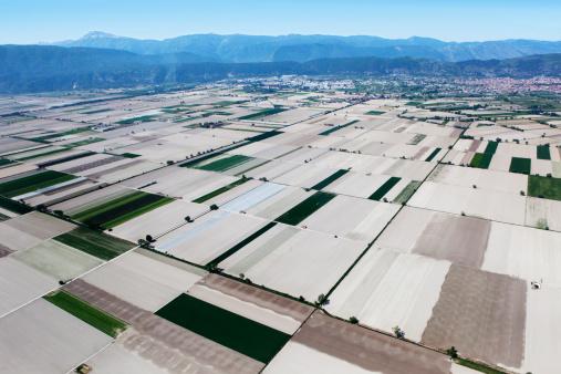 Patchwork Landscape「Fucino, in Abruzzo, aerial view」:スマホ壁紙(3)