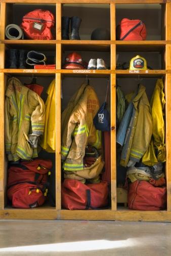 Emergency Services Occupation「Firemen's gear at firehouse」:スマホ壁紙(12)