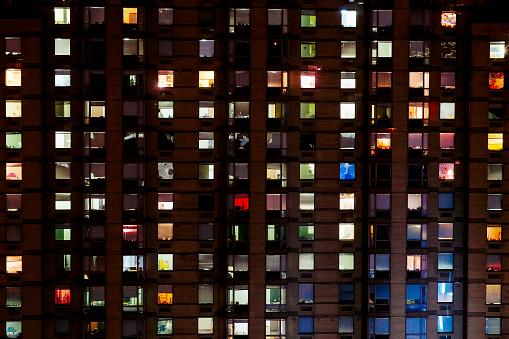 Building night view「LIt Room」:スマホ壁紙(2)