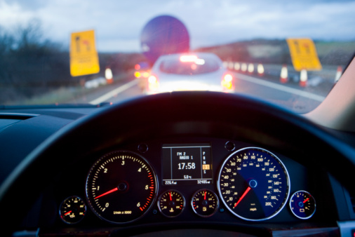 Dashboard - Vehicle Part「Traffic Jam on Motorway viewed from the drivers seat」:スマホ壁紙(13)