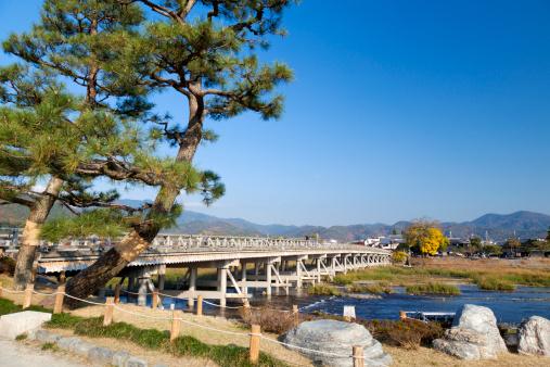 秋+京都「Arashiyama and Togetsu-kyo Bridge」:スマホ壁紙(15)