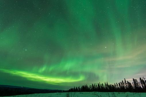 星空「Scenic landscape with Aurora Borealis, Fairbanks, Alaska, USA」:スマホ壁紙(11)