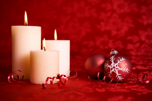 Red Background「Burning Christmas Candles with Two Ornaments on Red, Copy Space」:スマホ壁紙(7)