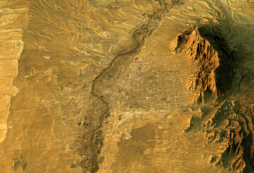 地図「Albuquerque 3D Landscape View South-North Natural Color」:スマホ壁紙(16)