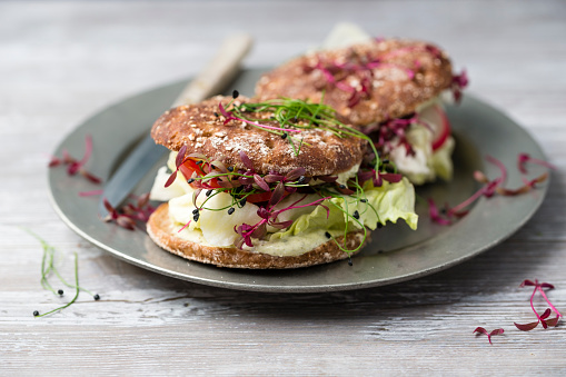 Veggie Burger「Veggie burger, wholemeal, vegan, with salad, radish, tomato, rock chives cress, yoghurt herb sauce」:スマホ壁紙(2)