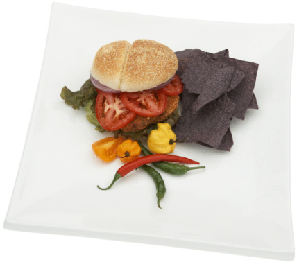 Veggie Burger「Veggie burger with peppers and chips」:スマホ壁紙(7)