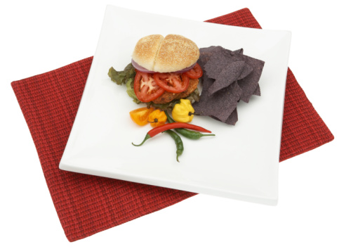 Veggie Burger「Veggie burger with peppers and chips」:スマホ壁紙(9)