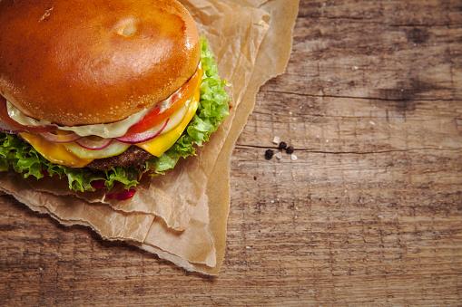 Preparation「Veggie Burger, overhead view」:スマホ壁紙(7)
