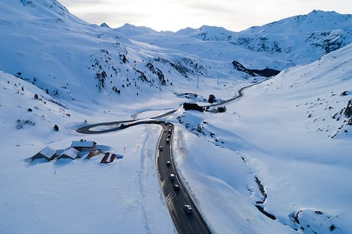 European Alps「Winter Landscape with Mountain Road, Aerial View」:スマホ壁紙(11)