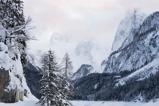Dachstein Mountains「Winter landscape at Gosausee lake, Dachstein mountain in background, Austria」:スマホ壁紙(13)
