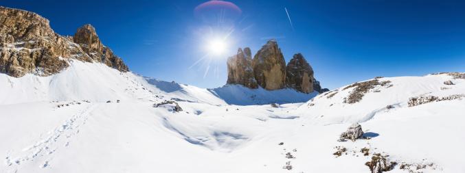雪山「冬の風景、ドロミテ、トレチーメディラバレード,イタリア」:スマホ壁紙(11)
