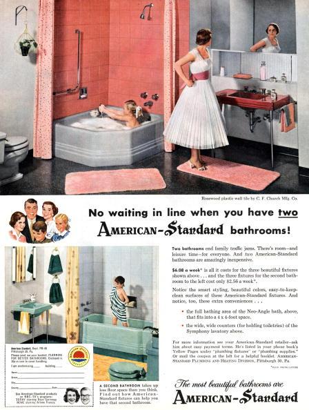 "Bathroom「advertising for ""American Standard"" bathrooms, published in american magazine 1956」:写真・画像(9)[壁紙.com]"