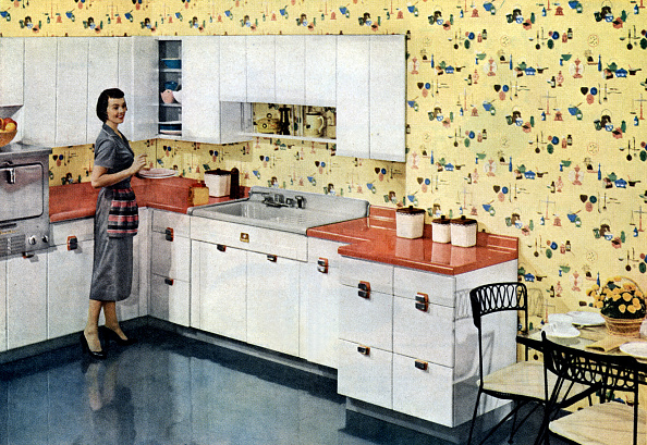 "Kitchen「advertising for ""American Standard"" kitchens and Glendura soil proof wallcoverings, published in american magazine april 1956」:写真・画像(16)[壁紙.com]"