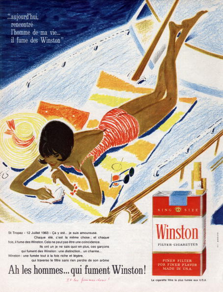 Cigarette「Advertising for Winston cigarettes with filter in July 1963」:写真・画像(3)[壁紙.com]