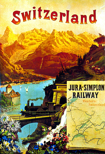 Switzerland「Advertising poster for the railway railroad going from France to Switzerland around 1890」:写真・画像(15)[壁紙.com]