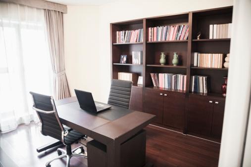 Part of a Series「Modern home office with bookshelves.」:スマホ壁紙(13)